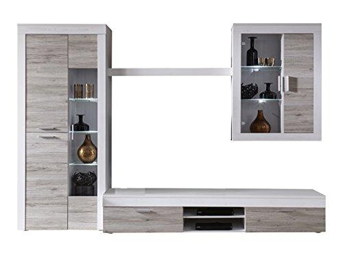 trendteam 1111-002-77 Wohnwand Boom, Pinie Struktur weiß und Fronten in Eiche San Remo sand, Holz, braun, 305 x 50 x 209 cm