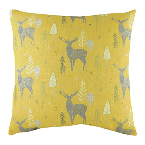 Evans Lichfield Hulder Stag Repeat Cushion Cover, Ochre, 43 x 43cm