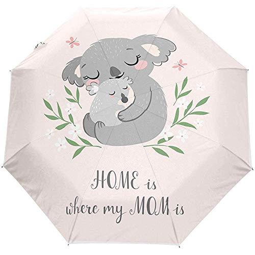 Schattige Moeder Moederdag Dier Koala Auto Open Paraplu Zon Regen Paraplu Anti UV Vouwen Compact Automatische Paraplu