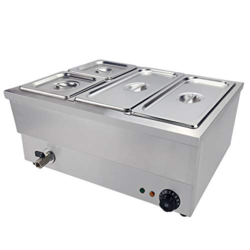 DULONG Commercial Bain Marie Buffet Food Warmer Electric Food Soup Warmer Stove Steam Table Stainless Steel Container Temperature Control for Catering Restaurants Use 1350W(1/3GNx2+1/6GNx2)