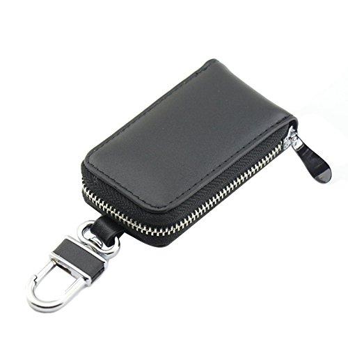 Genda 2Archer Unisex Auto Schlüssel Etui Leder Reißverschluss Geldbörse (Schwarz)