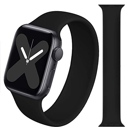 Stretchy Solo Loop Strap Compatible with Apple Watch Band 38/40mm 42/44mm, No Clasps,Stretchable,Soft Silicone Women Men Replacement Wristband Compatible with iWatch Series 6/SE/5/4/3/2/1-Black