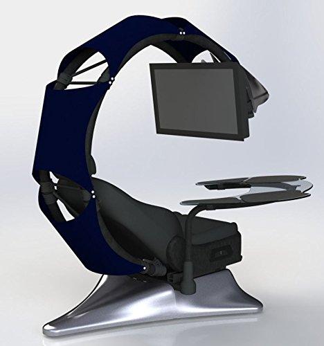 Drian Workstation Game-Sitze IT und Furniture Converged Gaming-Sitze für Büro, zu Hause und zum Gaming (Reinweiß) für Single Monitor und linkstürige Richtung marineblau