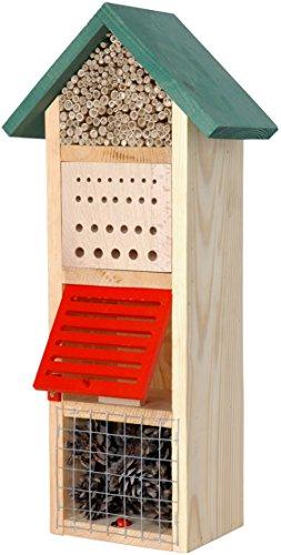 Luxus-Insektenhotels 22620e Großer Insektenhotel Turm mit Spitzdach grünem Dach, Insektenhaus für Nützlinge