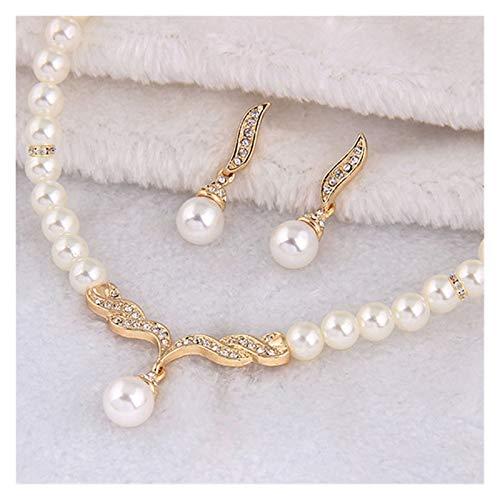 xiaofeng214 Einfache Schmuck, Perle Halskette Schmuck, Geschenk Set Kette, Abend Bankett Brautkleid, Hochzeitskleid, Strass (Metal Color : Gold)