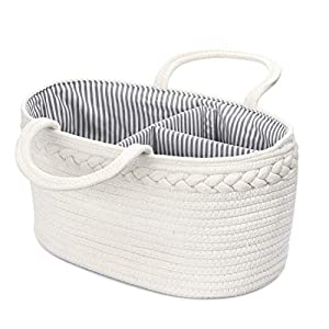 Genenic Baby Diaper Caddy Organizer – Newborn Portable Stylish Cotton Rope Nursery Storage Basket with Removable Insert for Changing Table & Car, Best Baby Shower Gifts (White)