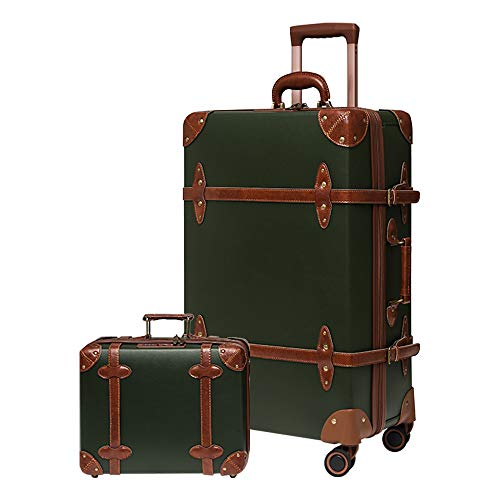 Vintage Luggage Sets Carry On Suitcase Leather TSA lock Luggage Set 2 Piece Retro Style for Women Luggage with wheels (Green, 26'(2515.310.6in-66L)&14in Case)