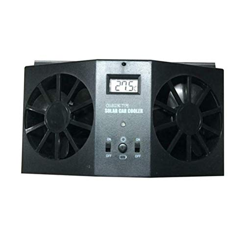 ASOSMOS Auto Abluftventilator, Solar Auto Abgaswärme Ventilator Double Air Outlet Ersatz für den Sommer (Schwarz)