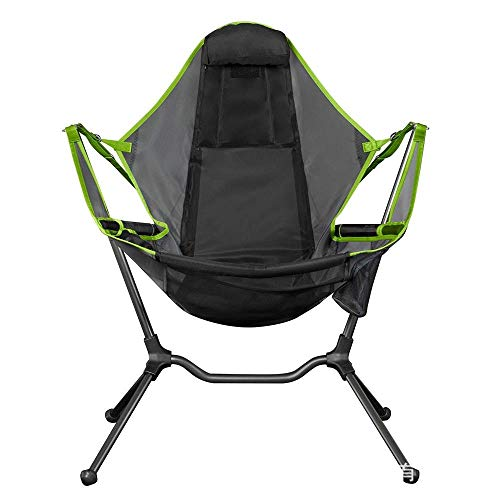 YRDDJQ Outdoor moon Chair Aluminum Alloy Ultra-light Portable Folding back Chair Rocking Chair for Camping Fishing Chair BBQ Garden Rocking Chair Canopy Swing