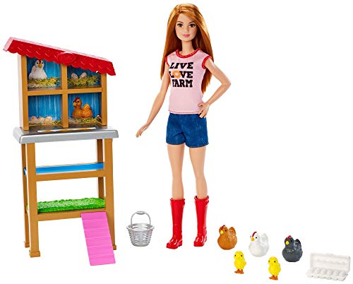 Barbie Chicken Farmer Doll, Red-Haired, and Playset with Henhouse, 3 Chickens, 2 Chicks and More, Career-Themed Toy for 3 to 7 Year Olds