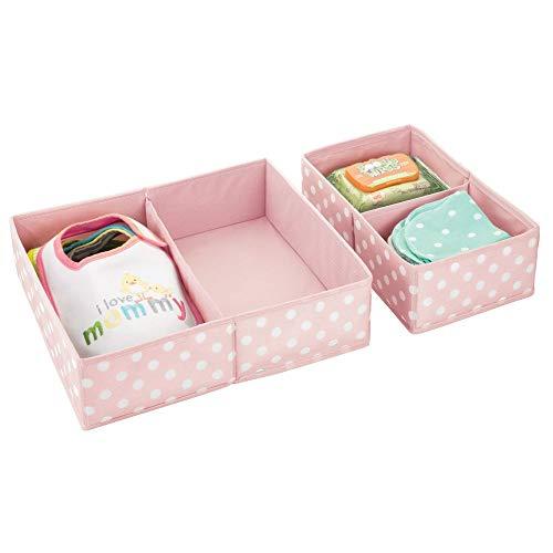 mDesign Juego de 2 cajas para guardar ropa – Práctico organizador de armario en 2 tamaños para todos los cajones – Bonitas cajas de tela con 2 compartimentos cada una y diseño de puntos – rosa/blanco