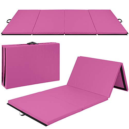 Best Choice Products 10ftx4ftx2in Folding Gym Mat 4-Panel Exercise Gymnastics Aerobics Workout Fitness Floor Mats w/Carrying Handles – Pink