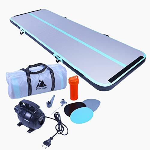 EVOLAND Airtrack Gymnastikmatte, 10 cm dick, Trainingsmatte, 3 m, aufblasbare Gymnastikmatte mit elektrischer Pumpe für Gymnastik, Yoga, Taekwondo, Bodenturnen, Schwimmen, grün