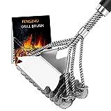 """FENGZHU Spazzola per barbecue, 18"""" 3-Branch Acciaio Inossidabile Spazzola con spatola in acciaio accessorio per barbecue a carbonella elettrica a gas"""
