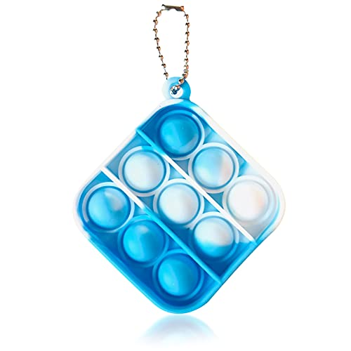 LKMU Mini Pop It Fidget Toy Keychain Push Pop Bubble Fidget Sensory Toy Simple Dimple Fidget Popper Autism Special Needs Silicone Stress Reliever Toy Anxiety Squeeze Sensory Toy for Kids Adults (F)