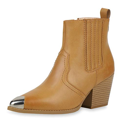 SCARPE VITA Damen Stiefeletten Cowboy Boots Metallic Kappe Western Schuhe Holzoptikabsatz Cowboystiefel Chunky Heels Westernstiefel 187526 Hellbraun 40