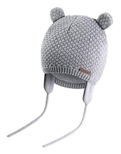 K.tchard Baby Jungen Mädchen Mütze Beanie Strickmütze Cap Kinder Wintermütze Cute Bear Hut, Gr.-3-7 Monate(36cm-41cm)/ Etikettengröße - Small ,Grau