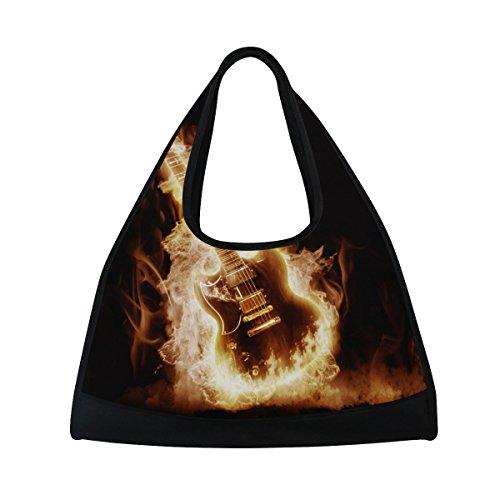 TIZORAX Elektronische Gitarre eingehüllt Flammen Duffle Reisetasche Sport Gym Bag Umhängetasche