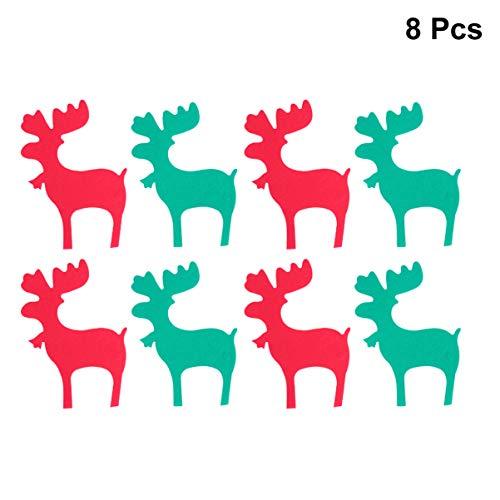 Amosfun 8STKS kerstbanner met lint niet-geweven bunting slinger vlag kerstboom opknoping decoratie partij benodigdheden 19*13cm Afbeelding 1