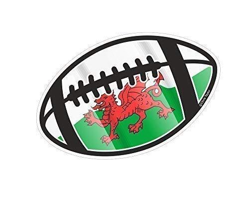 Rugbyball Motiv mit Wales Cymru Flagge für Rugby Squad Team Fan Turnier Auto Aufkleber 130x80mm