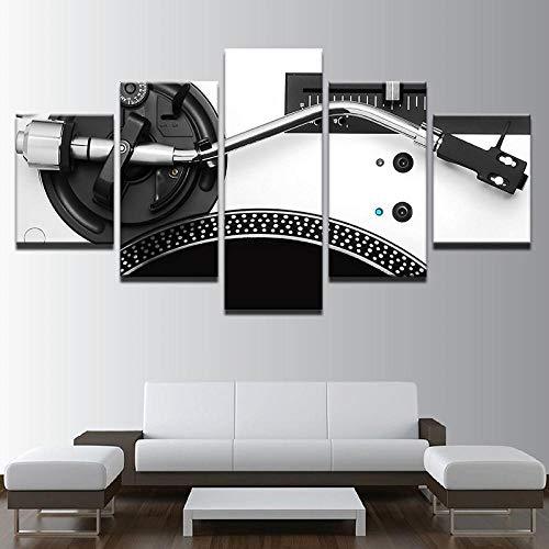 XXXCH Cuadro Sobre Lienzo - 5 Piezas - Impresión En Lienzo - Mezclador De Instrumentos De Consola Dj De Música Cuadro De Pintura Póster De Arte Moderno Oficina Sala De Estar O Dormitorio Dec 200X100CM