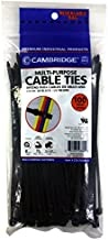 Cambridge Cable Ties 8-in 75 Lb Standard Duty Self Locking UV Resistant Black Zip Ties, 100 Pack, UL Listed, Contractor Quality and Strength