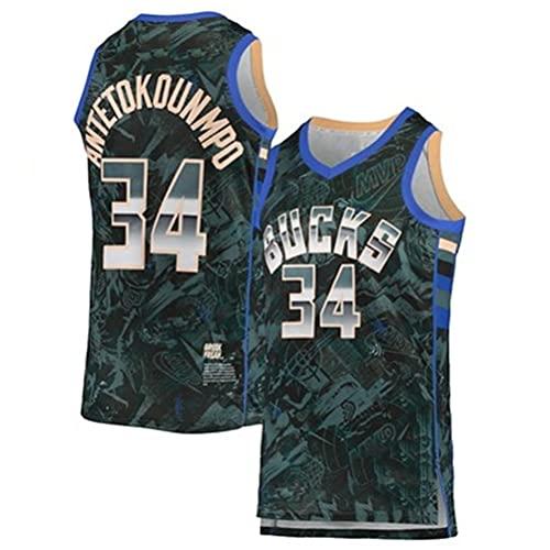Ycsax Camiseta de la NBA para Hombre, Camiseta clásica de Milwaukee Bucks # 34 Giannis Antetokounmpo, Camiseta de Baloncesto Fresca y Transpirable sin Mangas para fanáticos de los Deportes,XL