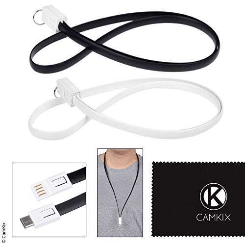 USB Lanyard - 1x Black, 1x White - Transport, Charging/Power Data Transfer Cable Your Phone, Handheld Game Console, Compact Camera, Bluetooth Headset/Speaker - USB Type A to Type C