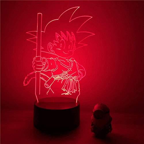 Lámpara de mesa con diseño de anime animado 3D de ilusión LED, lámpara de mesa, lámpara de ambiente, utilizada para la decoración de la habitación, regalo para niños, control de 16 cintas