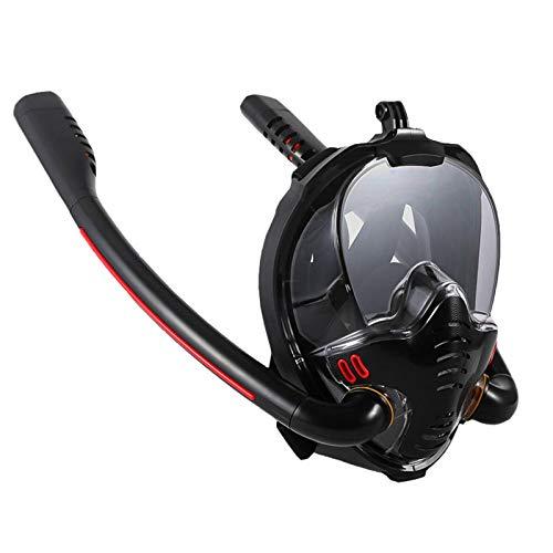 N-B Máscara de natación para adultos y mujeres, tubo de doble respiración de silicona, máscara de esnórquel completamente seca