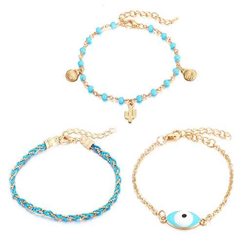 U/N Bohemian Chain Ankle Bracelets Set Multilayer Shell Cactus Charm Bracelets Women Anklet Foot Jewelry Gift 3Pcs