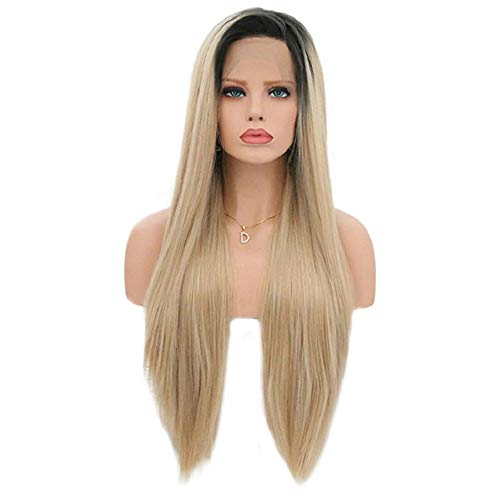 Lang Natural Straight Blond met Dark Roots Pruiken 26 Inches Hittebestendige vezel Haar Lijmloze 150% High Density Pruik for Vrouwen Party Cosplay of Daily Dress