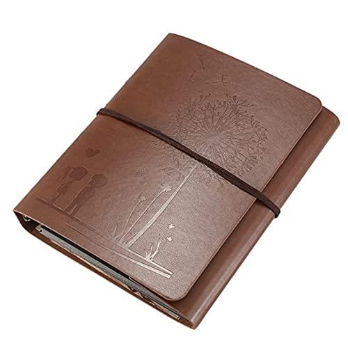XKMY Álbum de fotos, álbum de recortes, álbum de fotos, álbum de recortes, álbum de fotos de piel de diente de león de la familia, libro de memoria autoadhesivo, color marrón