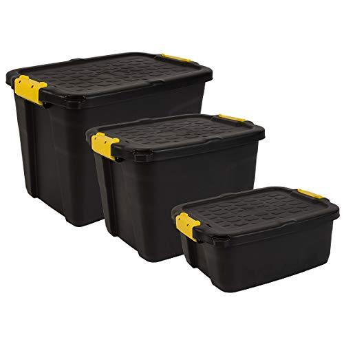 Charles Bentley Strata Heavy Duty Bundle - Set of 3 Handle Clip Locks Padlock Holes Sustainable Storage Box - 60L 42L 24L - Black