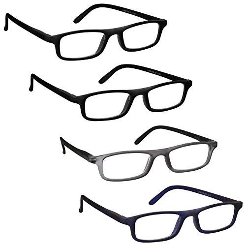 The Reading Glasses Company Die Lesebrille Unternehmen Leser Wert 4er-Pack Herren Damen Federscharniere RRRR17-1173 +1, 50 Optische Leistung, Schwarz matt grau schwarz matt marineblau, 4 Stück
