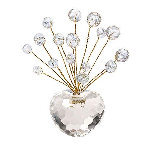 LQKYWNA Naturale Energizzato Pietra Preziosa di Cristallo Bonsai Albero dei Soldi Figurine Base di Cristallo Decorativa per Buona Fortuna Ricchezza E Prosperità Regalo Spirituale