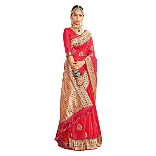 Rote schwere Banarasi Seide Zari indische Hochzeit Brautkleidung besondere Sari muslimische Frauen Bluse ethnisches Kleid Material 9768