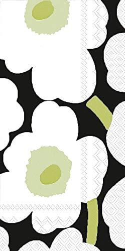 Boston International IHR Marimekko 16-Count Guest/Dinner 3-Ply Paper Napkins, 8.5 x 4.5-Inches, Unikko Black -  BF552607