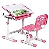 COSTWAY Set Sedia e Scrivania per Bambini Altezza e Angolo Regolabile e Multifunzionale Confortevole Apprendimento Colori Disponibili: Blu/grigio/rosa (ROSA)