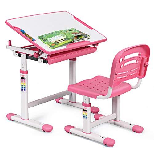 COSTWAY Kinderschreibtisch höhenverstellbar, Schülerschreibtisch Kindermöbel neigungsverstellbar,...