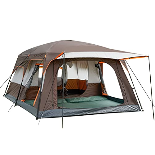 KTT Large Tent 8 Person,Family Cabin Tents,2 Rooms,Straight Wall,3 Doors and 3 Windows with Mesh,Waterproof,Double Layer,Big Tent for Outdoor,Picnic,Camping,Family,Friends Gathering. (Brownness)