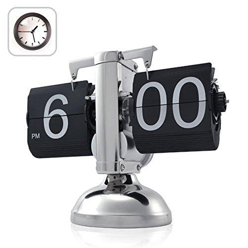 DEEWISH Bewegung, Automatik Flip Clock Retro Mechanische Einfache Home Wohnzimmer Clock Single Foot Kleine Balance Flop Clock (20 * 9 * 17cm, Schwarz)