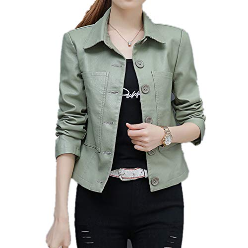 U/A de cuero de las mujeres de abrigo corto primavera y otoño nueva chaqueta de cuero señora