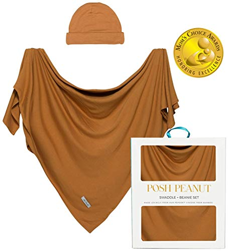 Posh Peanut Baby Boy Swaddle Blanket  Large Premium Knit Viscose from Bamboo  Infant Swaddle Wrap Receiving Blanket and Beanie Set Baby Shower Newborn Gift Registry  Marigold