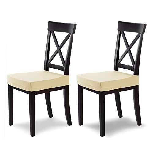 SCHEFFLER-Home Marie 2 Fundas para Asiento de sillas, Estirable Cubiertas hidrófugo, Funda con Banda elástica, Marfil
