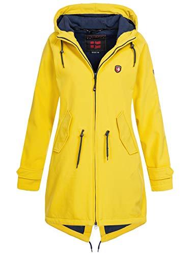 X-Land Damen Softshell Kurzmantel Brühl Jacke mit Kapuze gelb M