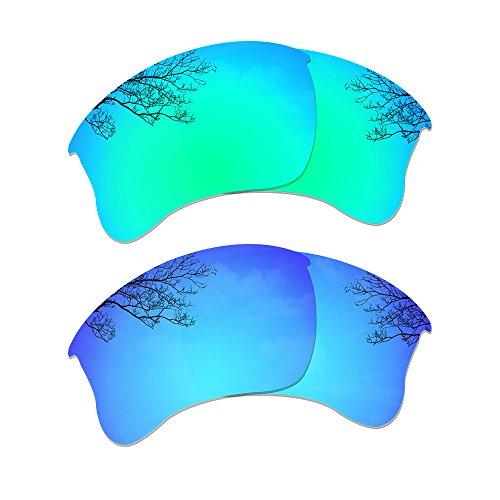 Dynamix Polarized Replacement Lenses for Oakley Flak Jacket XLJ - Multiple Options (Emerald Green + Ice Blue, Polarized Enhanced)