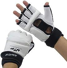DJLHNNuevo Cuero Medio Dedo Niños Karate Boxeo Sanda Karate Sandbag Taekwondo Hand Gloves MMA Muay Thai - Nuevo Blanco, XS 3-6 años
