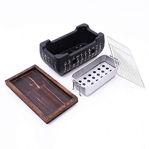 Parrilla de carbón de cerámica para escritorio, parrilla de mesa portátil, estante para barbacoa de mesa, mini parrilla japonesa portátil, multifunción, para amigos de la familia 24 * 13 * 12cm