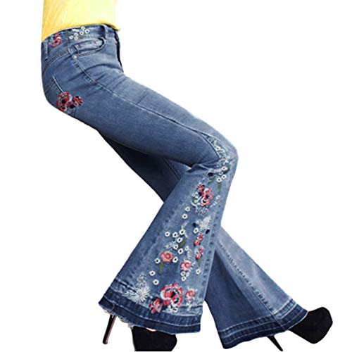 Lulupi Damen Schlaghose Jeans Elegant Lady Fashion Retro Skinny Slim Hosen Eckbestickte Bootcut Schlajeans Weites Bein Casual Jeanshose 70er Party